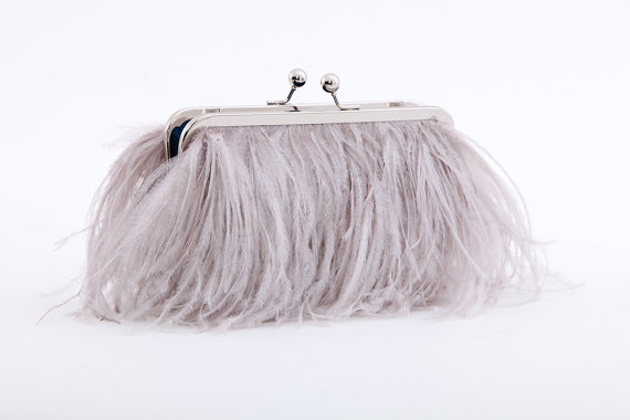 grey ostrich feather clutch