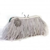 Ostrich Feather Clutch - Dove Grey with Brooch