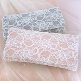 Blush pink and ivory lace bridal clutch