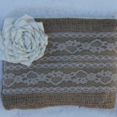 Burlap and Lace Wedding Clutch - Ivory Flower