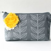 Cosmetic Bag Clutch, Grey and Yellow
