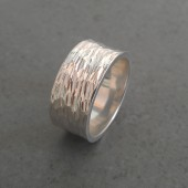 Hammered Wide Wedding Band