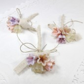 Rustic pink flower boutonnieres - Set of 3