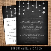 Chalkboard Hanging Stars rustic wedding invtiations