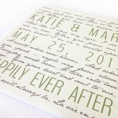happily ever after canvas with words and vows and names