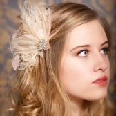 Harlow - champagne and blush bridal headpiece, feather fascinator