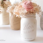 Earth tones painted mason jars