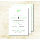 Mint Green Heart & Arrow Wedding Invitation