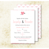 Blush Pink Heart & Arrow Wedding Invitation