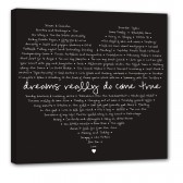 heart shaped canvas art with love words