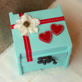 Teal and Red Ring Bearer Box, Wedding Ring Box