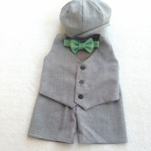 Wiley Set in Heather Gray Suiting with a Mint Herringbone Bow Tie