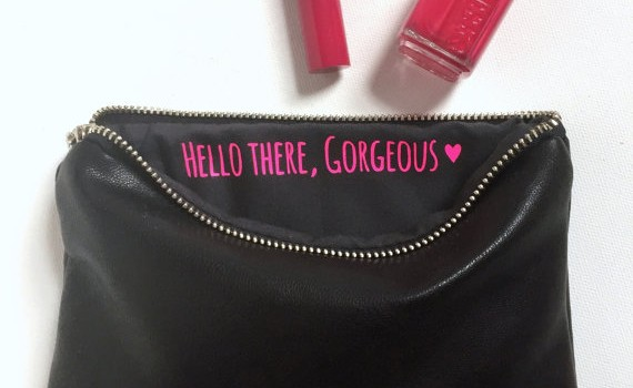 hello there gorgeous hot pink and black bridal party makeup bag