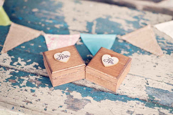 His and Hers Ring Boxes (by PNZ Designs, photo by Melania Marta, via EmmalineBride.com - The Marketplace) #handmade #wedding