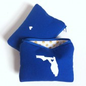Home State Makeup Bags // Royal Blue White & Gold Dots