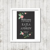 Welcome to Our Wedding Sign - Black Vintage Floral