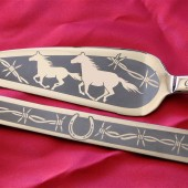 country western wedding cake server and knife