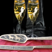 Western Wedding Cake Server & Knife, Champagne Flute Set, Personalized