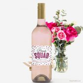 Hot Pink Glitter Confetti Bachelorette Party Wine Label by The Spotted Olive