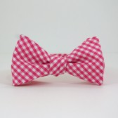 Hot Pink Gingham Bow Tie