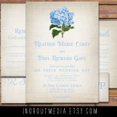 Rustic Wedding Suite - The Hydrangea - Shabby Chic and vintage flower invitations