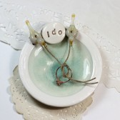 Personalized 'i do' love birds ring bearer plate, pillow alternative