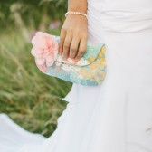 Floral Clutch Purse, Aqua and Peach