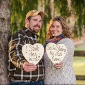 Save the Date Engagement Photo Props Wood Hearts For Him and Her