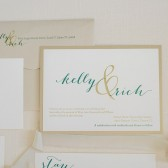 Gold and Green Pocket Wedding Invitation | Formal Wedding Invitation | Simple Wedding Invitation | Modern | Traditional | Kelly & Rich