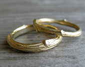 Twig Wedding Band Set, Recycled Gold