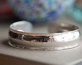 Puddled and Ribbed Hand-Made Silver Cuff, Made in Maine
