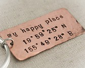 Our Happy Place Coordinates Keychain
