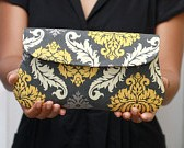 Damask in yellow and Gray