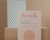 Small Simple Modern / Custom Save the Date / Wedding / Birthday / Rehearsal / Circle / Stripes / Turquoise and Peach Invitation