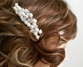 Freshwater Pearl Hair Comb, Bridal Hair Accessories, Ivory Pearl Crystal Bridal Comb, Bridal Accessories