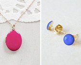 Enamel Locket with Stud Earrings - Necklace Set