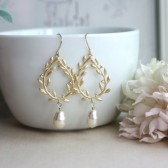 Gold Laurel Wreath Cream Ivory Teardrop Pearl Dangle Earrings