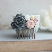 Large Grey Rose, Pink Chrysanthemum, White, Ivory Peach Flowers Collage Hair Comb.