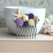 purple Chrysanthemum, Pink, Flying Bird, Ivory, Pearl, Flower Collage Hair Comb. Purple Wedding