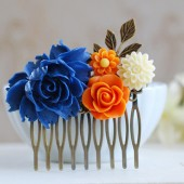 Cobalt Blue and Orange Wedding Bridal Hair Comb