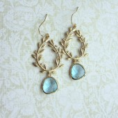 Aqua Blue Laurel Wreath Earrings, Gold Plated Aqua Blue Glass Gold Drop Dangle Earrings.