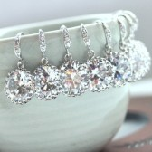 Set of 5, Five Pairs Wedding Earrings. A Round Cubic Zirconia White Silver Plated Earrings