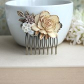 Shabby Antiqued Ivory Gold Rose, Brass Leaf, White, Pearl, Brown Mum Flower Collage Hair Comb.