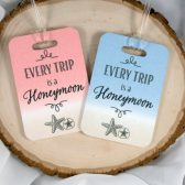 Couple Luggage Tags - Honeymoon Luggage Tag - Seashell - Wedding Gift - Anniversary Gift - Trip Tag - His & Her Tag - Husband and Wife