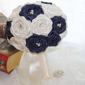 Navy Blue & Ivory Rhinestone Pearl Wedding Bouquet