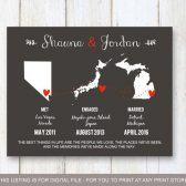 Wedding gift, Met Engaged Married print, wedding map, Love Story Map