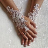 Free ship Wedding gloves beaded pearls white or Ivory bridal gloves lace gloves fingerless gloves french lace gloves free ship