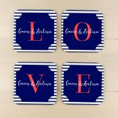 Personalized Coaster Set - LOVE Coasters - Navy Coasters - Wedding Gift - Housewarming Gift - Set of 4