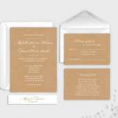 Calligraphy rustic wedding invitation