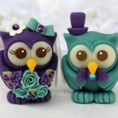 Owl wedding cake topper, love birds, custom cake topper, wedding cake topper, owl cake topper, love bird cake topper, personalized wedding, cute cake topper, hand made cake topper, purple wedding, teal wedding, purple teal cake topper